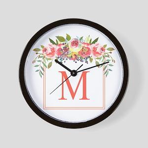 Peach Floral Wreath Monogram Wall Clock