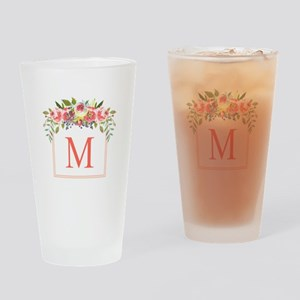 Peach Floral Wreath Monogram Drinking Glass