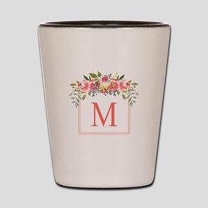 Peach Floral Wreath Monogram Shot Glass