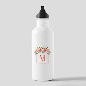 Peach Floral Wreath Monogram Water Bottle