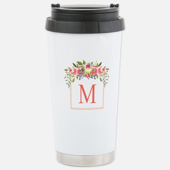 Peach Floral Wreath Monogram Travel Mug