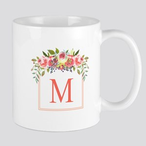 Peach Floral Wreath Monogram Mugs