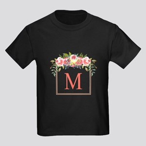 Peach Floral Wreath Monogram T-Shirt