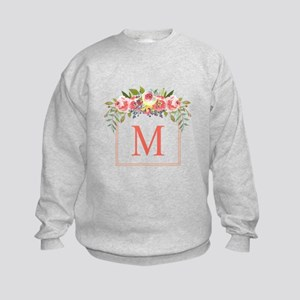 Peach Floral Wreath Monogram Sweatshirt