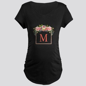 Peach Floral Wreath Monogram Maternity T-Shirt