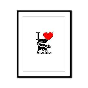 I Love Skunks Framed Panel Print