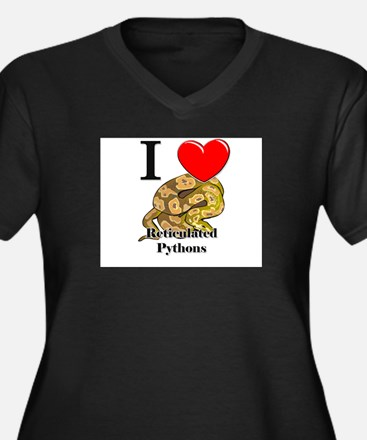 I Love Reticulated Pythons Women's Plus Size V-Nec