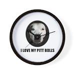 I LOVE MY PITT BULLS Wall Clock