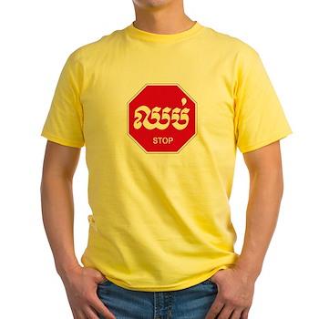 Stop, Cambodia Yellow T-Shirt