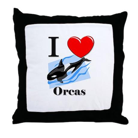 I Love Orcas Throw Pillow