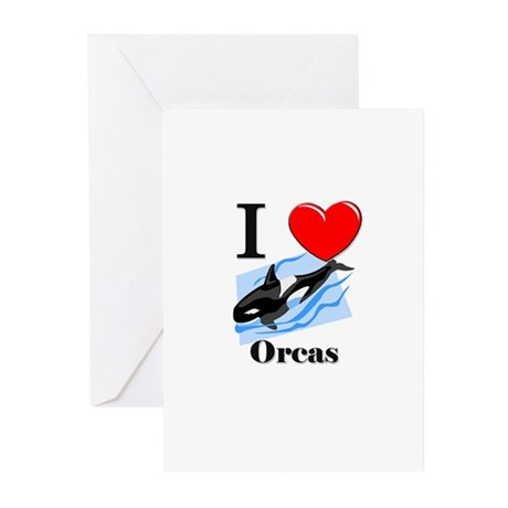 I Love Orcas Greeting Cards (Pk of 10)