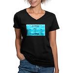 Divers Do It Deeper Women's V-Neck Dark T-Shirt