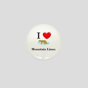 I Love Mountain Lions Mini Button