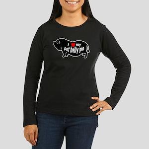 pot belly pig Women's Long Sleeve Dark T-Shirt