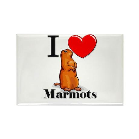 I Love Marmots Rectangle Magnet