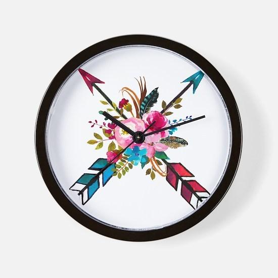 Watercolor Floral Arrow Bouquet Wall Clock
