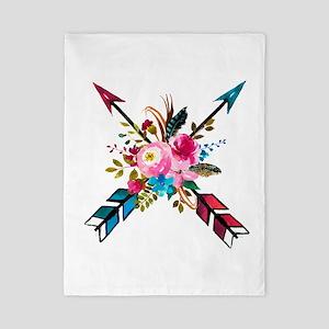 Watercolor Floral Arrow Bouquet Twin Duvet Cover