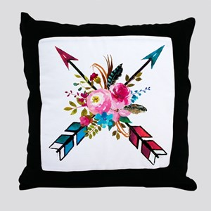Watercolor Floral Arrow Bouquet Throw Pillow