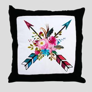 Watercolor Floral Arrow Bouquet Throw Pillow