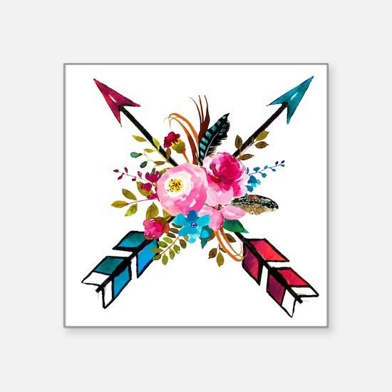 Watercolor Floral Arrow Bouquet Sticker