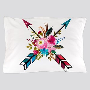 Watercolor Floral Arrow Bouquet Pillow Case