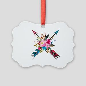 Watercolor Floral Arrow Bouquet Picture Ornament