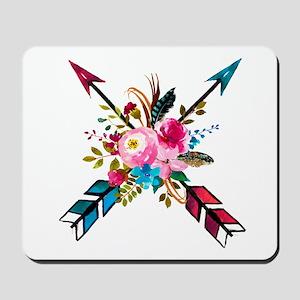 Watercolor Floral Arrow Bouquet Mousepad