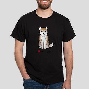 Red Siberian Husky Dark T-Shirt