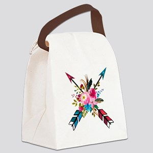 Watercolor Floral Arrow Bouquet Canvas Lunch Bag