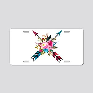 Watercolor Floral Arrow Bou Aluminum License Plate