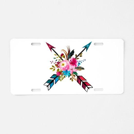 Watercolor Floral Arrow Bou Aluminum License Plate