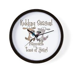 Goat Kidding Season Wall Clock