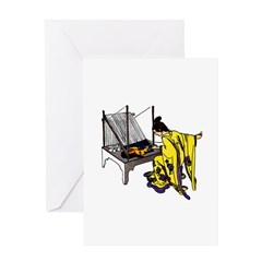 Woman at Weaving Loom Greeting Card