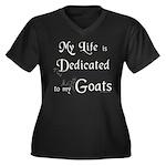 Dedicated to Goats Women's Plus Size V-Neck Dark T