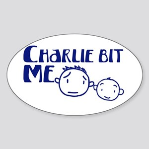 Charlie Bit Me Oval Sticker