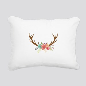 Chic Floral Antler Bouqu Rectangular Canvas Pillow