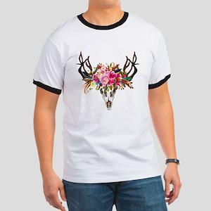 Bohemian Antler Skull Floral Bouquet T-Shirt
