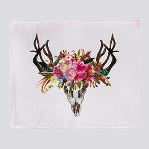 Bohemian Antler Skull Floral Bouquet Throw Blanket