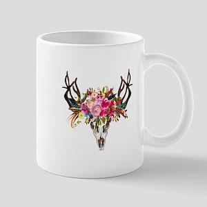 Bohemian Antler Skull Floral Bouquet Mugs
