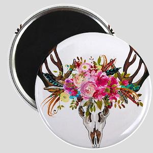 Bohemian Antler Skull Floral Bouquet Magnets