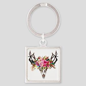 Bohemian Antler Skull Floral Bouquet Keychains