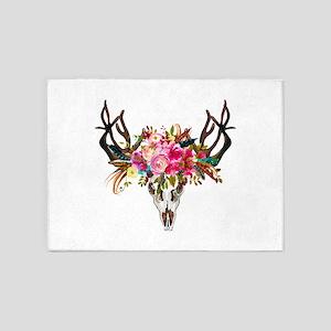 Bohemian Antler Skull Floral Bouque 5'x7'Area Rug