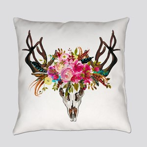 Bohemian Antler Skull Floral Bouqu Everyday Pillow