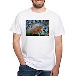 Beautiful Blues Pattern White T-Shirt
