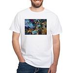 Beautiful Blues Design White T-Shirt