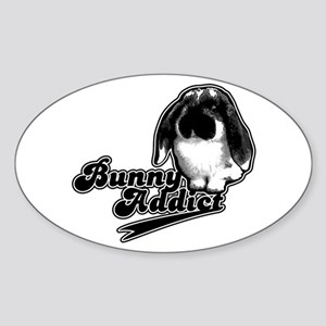 Bunny Addict Oval Sticker