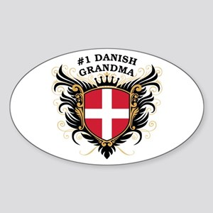 Number One Danish Grandma Oval Sticker