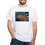 Beautiful Blues Fractal White T-Shirt
