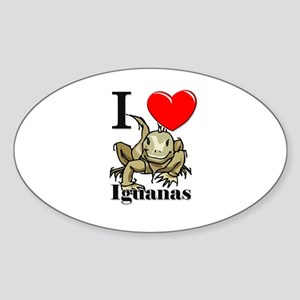 I Love Iguanas Oval Sticker