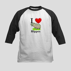 I Love Hippos Kids Baseball Jersey